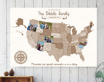 Road Trip Map, Photo Travel Log, Modern Map, Personalized Photos, Family Vacation, Family Travels, Custom Photo Map  // H-I24-1PS XX0