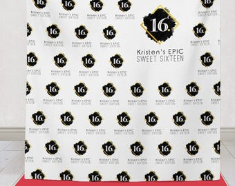 Sweet 16 Step and Repeat Backdrop, Sweet 16 Party backdrop, Sweet 16 Step and Repeat Banner, Sweet sixteen 16 party decor / H-T03-TP AA3