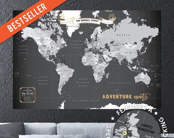 Detailed World Map Etsy