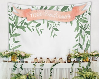 Bridal Shower Wall, Bride-To-Be Banner, Engagement Party Banner, Farmhouse Wedding Backdrop Decor, Greenery Backdrop / W-A08-TP MAR1 AA3