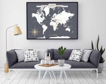 Push pin map etsy push pin travel map world travels map map art world map canvas travel map push pin map canvas or art print h i18 1ps aa4 06p gumiabroncs Gallery