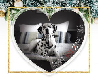 Dog Christmas Ornament Dog Photo Ornament Heart Shape, Personalized Pet Ornament, Christmas Gift Ornament Custom Dog Ornament  C-P153-OR XX9