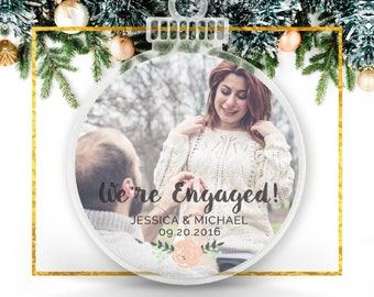Personalized Engagement Gifts, We're Engaged, Custom Photo Ornament, Engagement Gifts, Engagement Ornament, Gifts for Her // C-P124-OR ZZ2