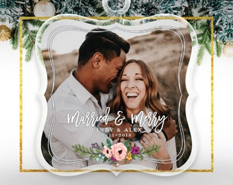 Engagement Ornament Christmas Engagement Ornament She Said Yes Married and Merry We're Engaged Ornament Newlywed Christmas Gift  C-P156-OR