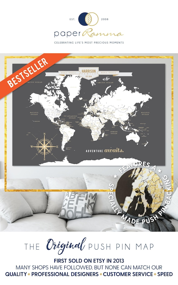 Push Pin Travel Map, Map for Push Pins, Travel map for Push Pins, Push Pin  Map, Push Pin Map for Travels, Maps Travels // H-I18-1PS AA4