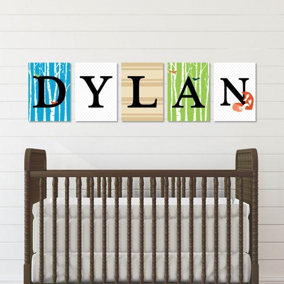Woodland Nursery Art Baby Name Letters Nursery Wall Letters