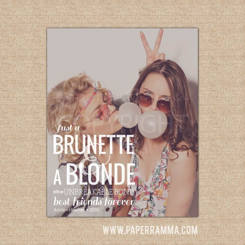 Brunette and Blonde Friendship Quote Blonde and Brunette Best | Etsy