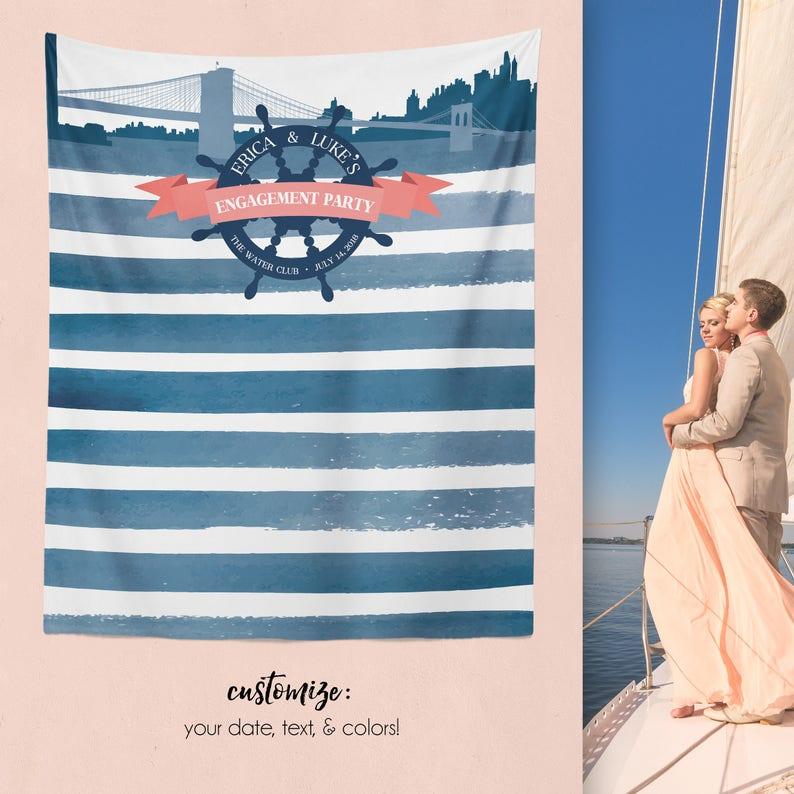 Nautical Wedding Backdrop Nautical Decor W-A12-TP AA3 Nautical Bridal Shower Nautical Engagement Nautical Engagement Backdrop