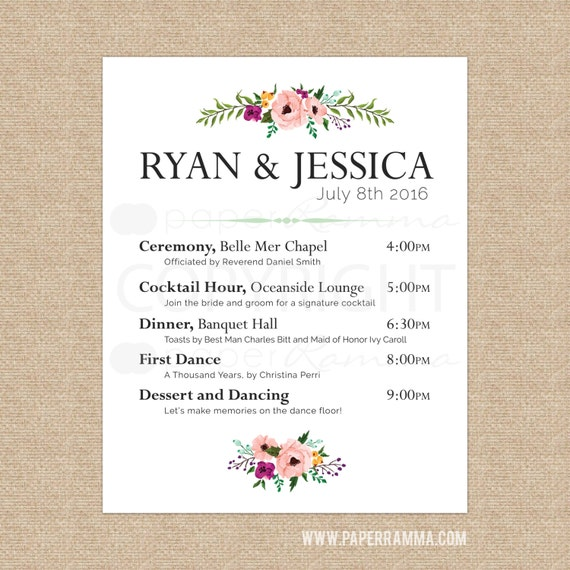 floral wedding welcome sign wedding schedule of events