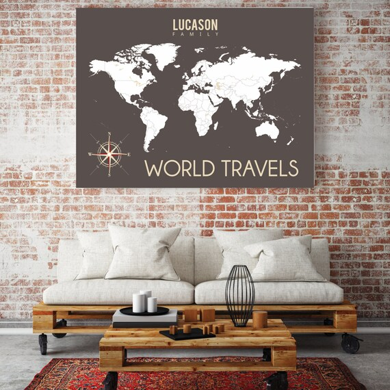Personalized Travel Map INTERACTIVE Map Mark The Places - World map to mark travels