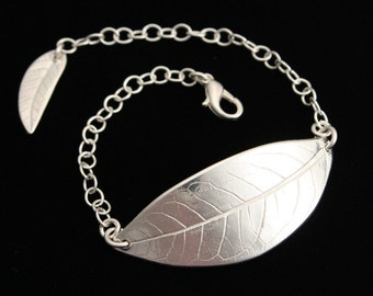 Butterfly Leaf Bracelet - Wide/Large leaf - Fine Silver - Handmade Artisan Jewelry with Sterling Silver Chain - ME Designs