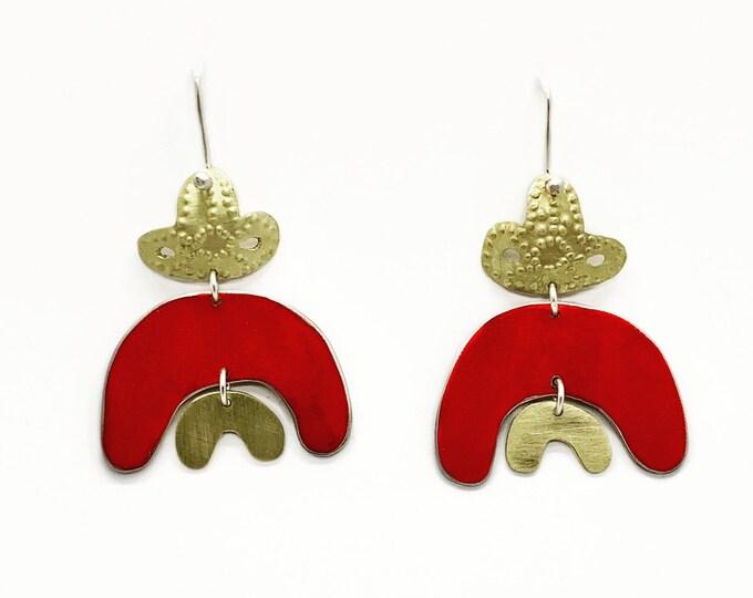 Double Rainbow earrings in red.