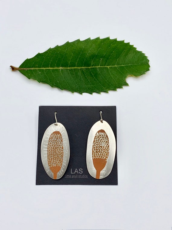 Banksia Earrings in silver