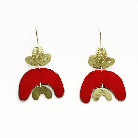 Double Rainbow earrings in red.