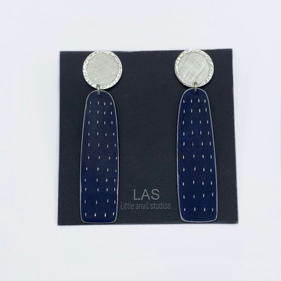 Etched Blue Midnight Earrings