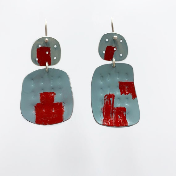 Happiness Earrings in Duck egg Blue Red