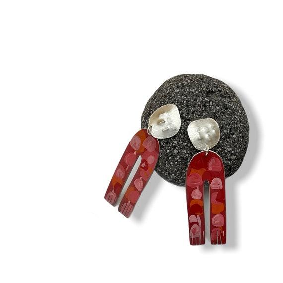 Ruby forest stud earrings
