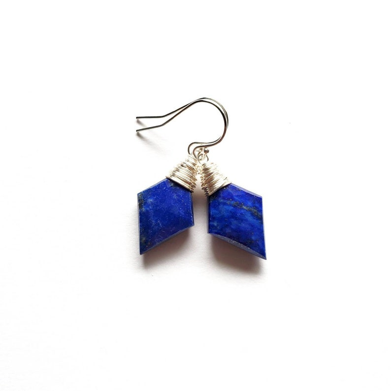 Rhombus Blue Lapis Lazuli Earrings with Silver Ear Wires Dangle and Drop Faceted Gemstone Jewelry Handmade in Seattle Gift for Her