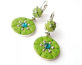 Boucles d'oreilles pendentif vert greenery