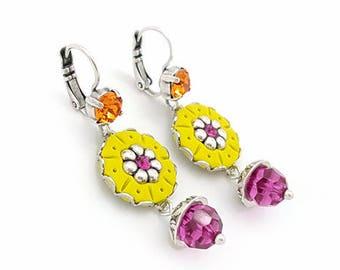 Round earrings flat chartreuse, crystal beads fuchsia, boho earrings colorful, ethnic chic earrings