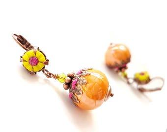 Dangle earrings chartreuse polymer clay, orange greek ceramic
