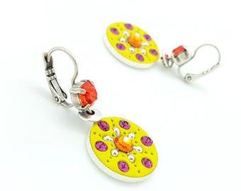Round earrings flat yellow-green, orange and fuchsia, boho earrings colorful, ethnic chic earrings