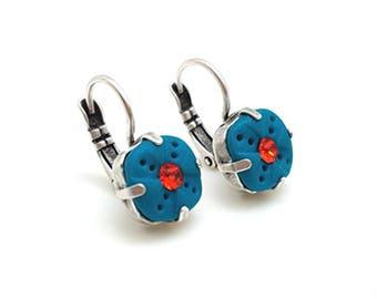 Square dangle earrings peacock blue, orange, small boho earrings colorful