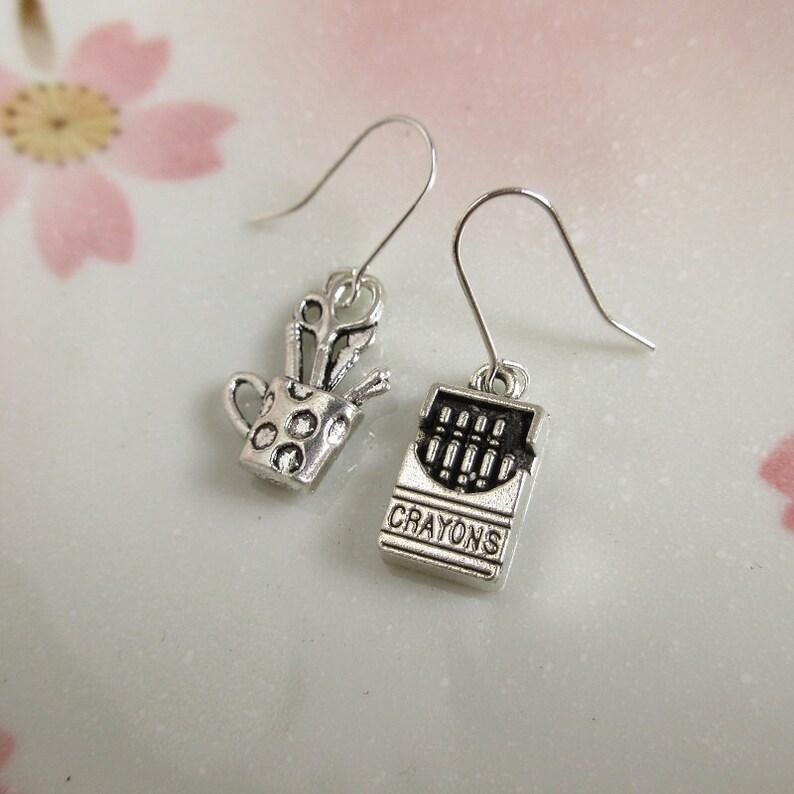 43f9156d52264 Painter Earrings, Silver Charms, Art Teacher Gifts, Artist Jewelry