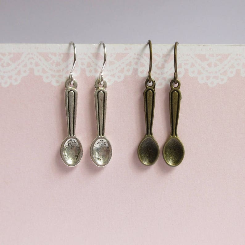 70871afed Miniature Spoon Earring Antqiued Brass Or Silver Tiny Spoon   Etsy
