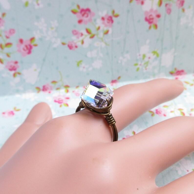 4ec7a7739 Swarovski Crystal Ring Clear Cube Crystal AB Bronze Wire | Etsy