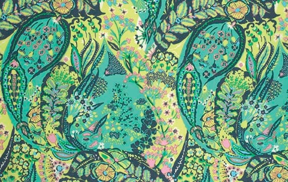 By 1//2 Yard Amy Butler Floral Fabric ~ Eternal Sunshine Cloisonne Lake Turquoise