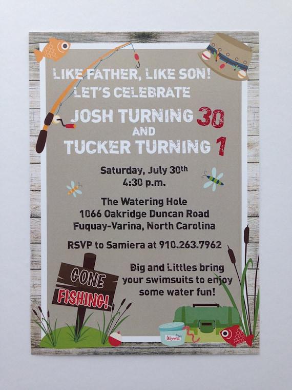 Fishing birthday invitation dad and son birthday party etsy image 0 stopboris Choice Image