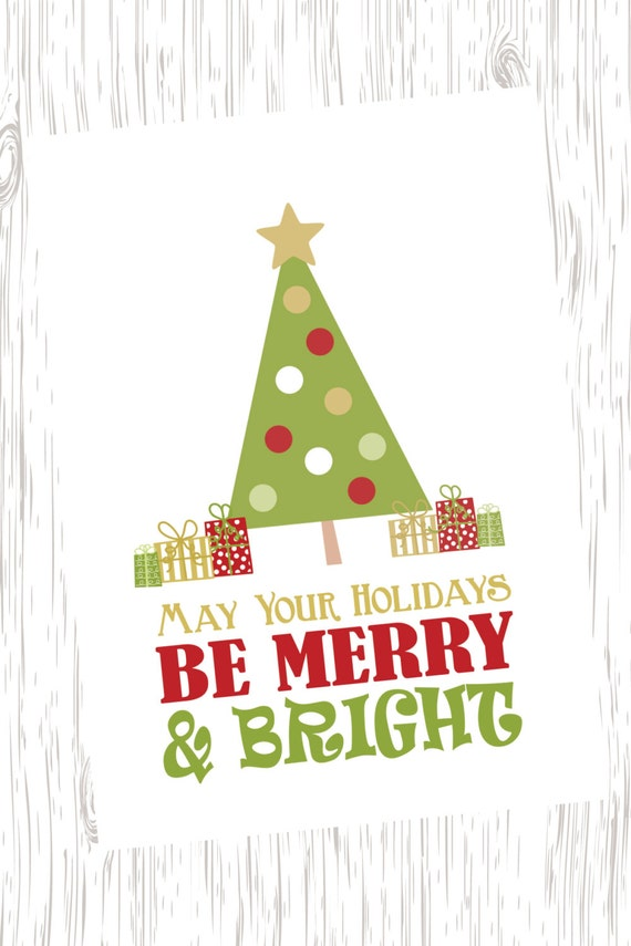Merry & Bright Holiday Card Merry and Bright Christmas Card | Etsy