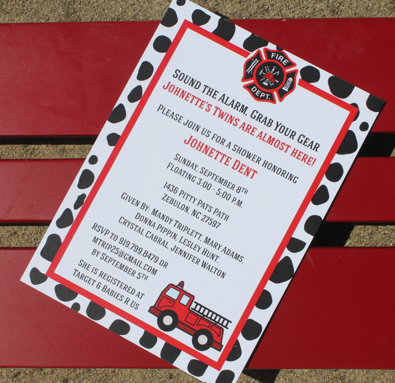 Fire Truck Themed Baby Shower Invitation Fire Truck Birthday | Etsy