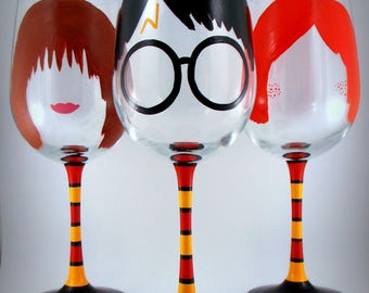 6 Black Harry Potter Theme Wine Glass Charms Birthday Xmas **Gift Box Extra**