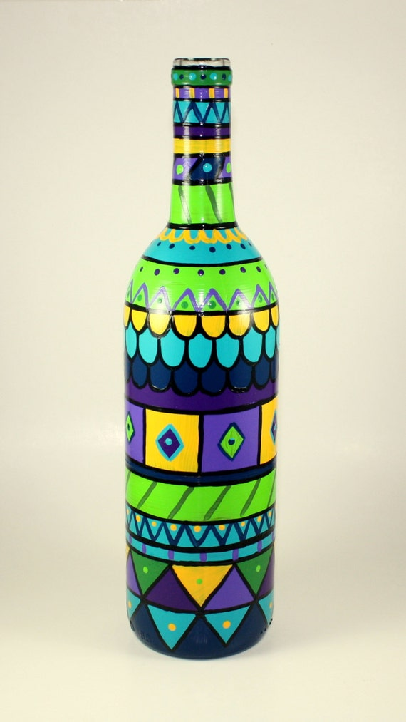 Hand Painted Bottle LIght Functional Art