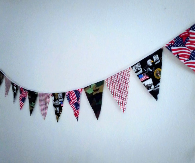 Military Fabric Bunting Banner Photo Props Party Decorations Photography Props Army Navy Marines Air Force Memorial Day Fourth of July