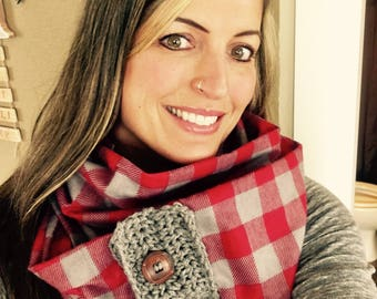 Infinity Flannel Scarf with Crochet Chunky Button Closure