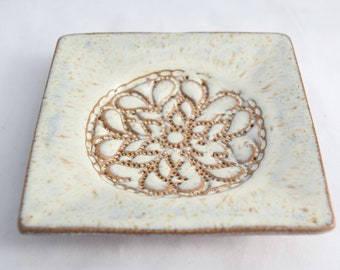 Square Pedestal Dish in Cream - Ceramic Stoneware Pottery