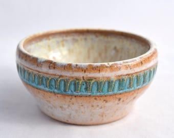 Small Bowl in Cream and Blue - Ceramic Stoneware Pottery