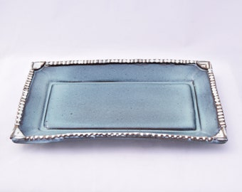 Small Tray in Turquoise and White - Ceramic Stoneware Pottery