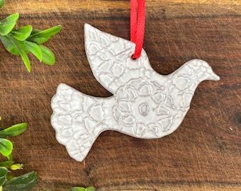 Mini Dove Ornament - White - Ceramic Stoneware Pottery - Christmas Ornaments