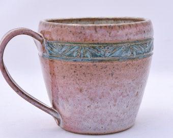 Coffee Mug in Cream and Teal - Ceramic Stoneware Pottery