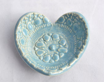 Heart Ring Dish / Ring Holder - Robins Egg Blue - Valentine's Day- Ceramic Stoneware Pottery