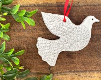 Mini Dove Ornament - one - White - Ceramic Stoneware Pottery - Christmas Ornaments