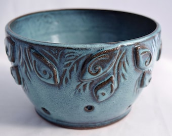 Berry Bowl in Teal / Turquoise - Ceramic Colander - Stoneware Pottery