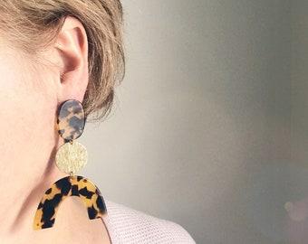 Dangle earrings, Statement earrings, Modern earrings, Big earrings, Modern jewelry, Tortoise shell earrings, Trendy earrings, Free shipping