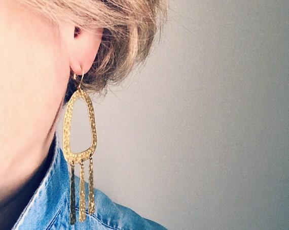 Dangle earrings, Statement earrings, Modern earrings, Statement jewelry, Boho chic earrings, Brass earrings, Modern jewelry, Big earrings