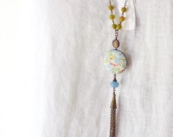 Liberty necklace, Tassel necklace, Long boho necklace, Liberty jewelry, Long tassel necklace, Free shipping Canada, Pastel necklace