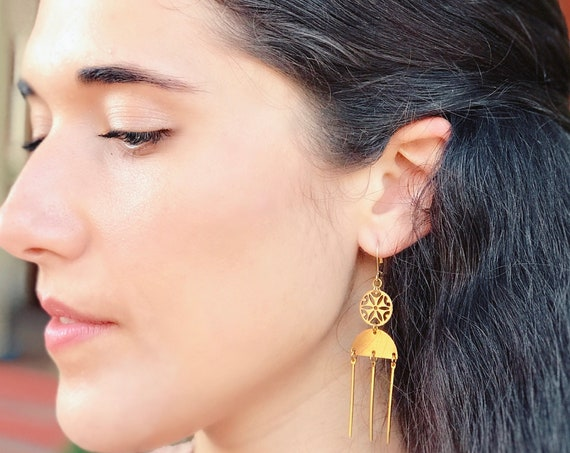 Dangle earrings, Trendy earrings, Boho earrings, Boho jewelry, Boho chic earrings, Golden earrings, Modern jewelry, Holiday gifts,